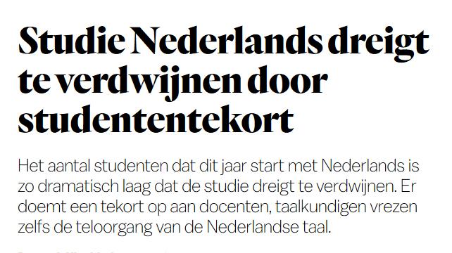 Studie Nederlands dreigt te verdwijnen door studententekort